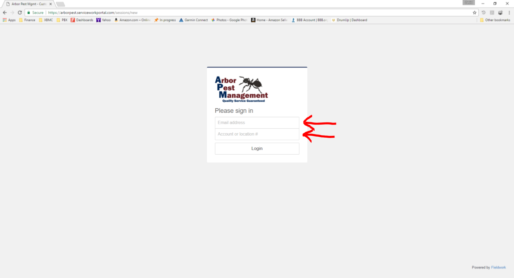 How To Login To The Online Customer Account Arbor Pest Management - Open invoice login